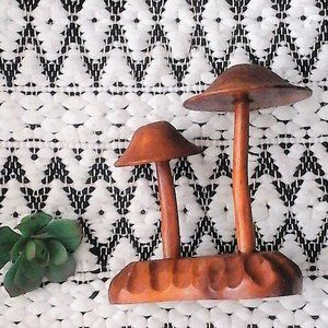 Vintage Hand Carved Wooden Mushrooms Sculpture